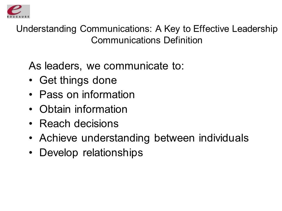 Understanding Communications: A Key to Effective Leadership Communications Definition As leaders, we communicate to: Get things done Pass on information Obtain information Reach decisions Achieve understanding between individuals Develop relationships