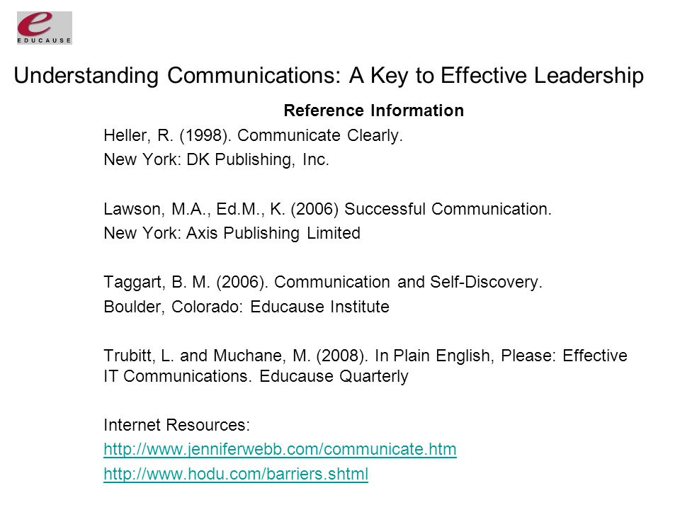 Understanding Communications: A Key to Effective Leadership Reference Information Heller, R.