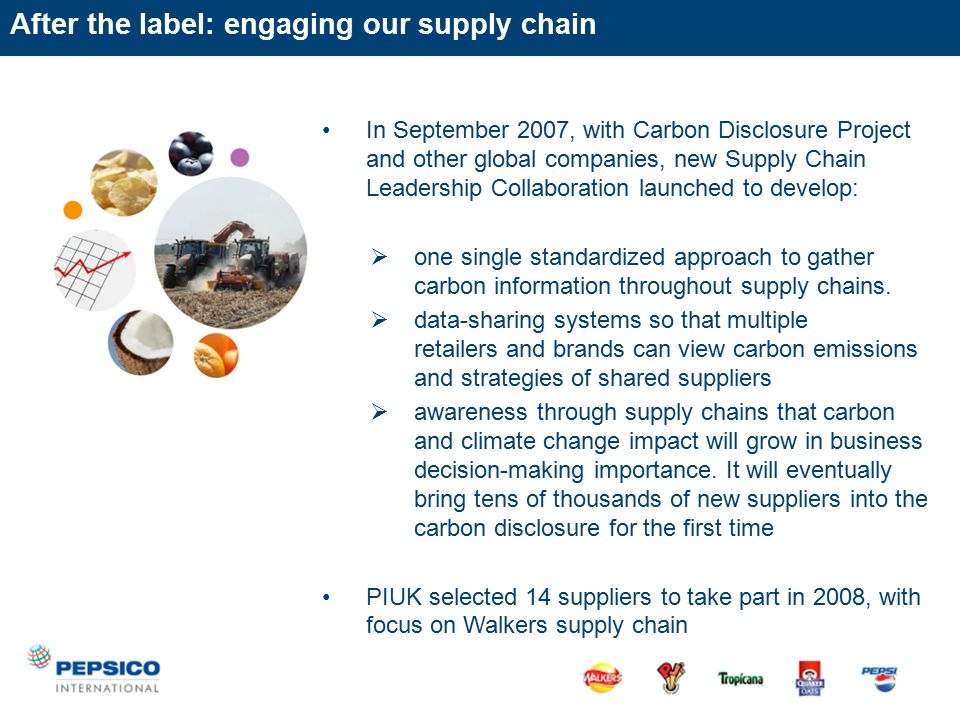 In September 2007, with Carbon Disclosure Project and other global companies, new Supply Chain Leadership Collaboration launched to develop:  one single standardized approach to gather carbon information throughout supply chains.