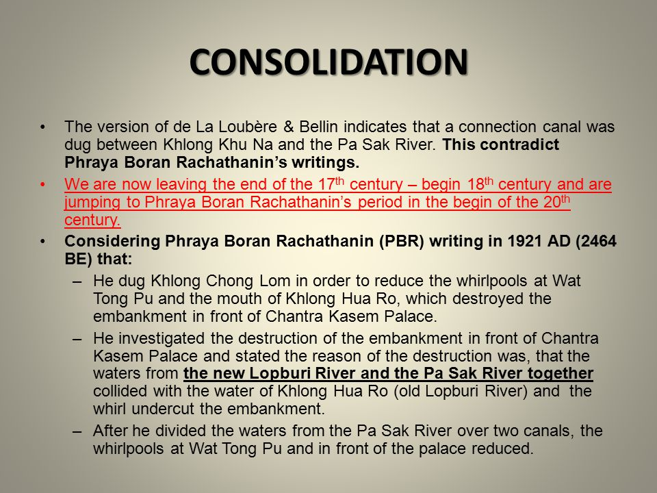 CONSOLIDATION The version of de La Loubère & Bellin indicates that a connection canal was dug between Khlong Khu Na and the Pa Sak River.