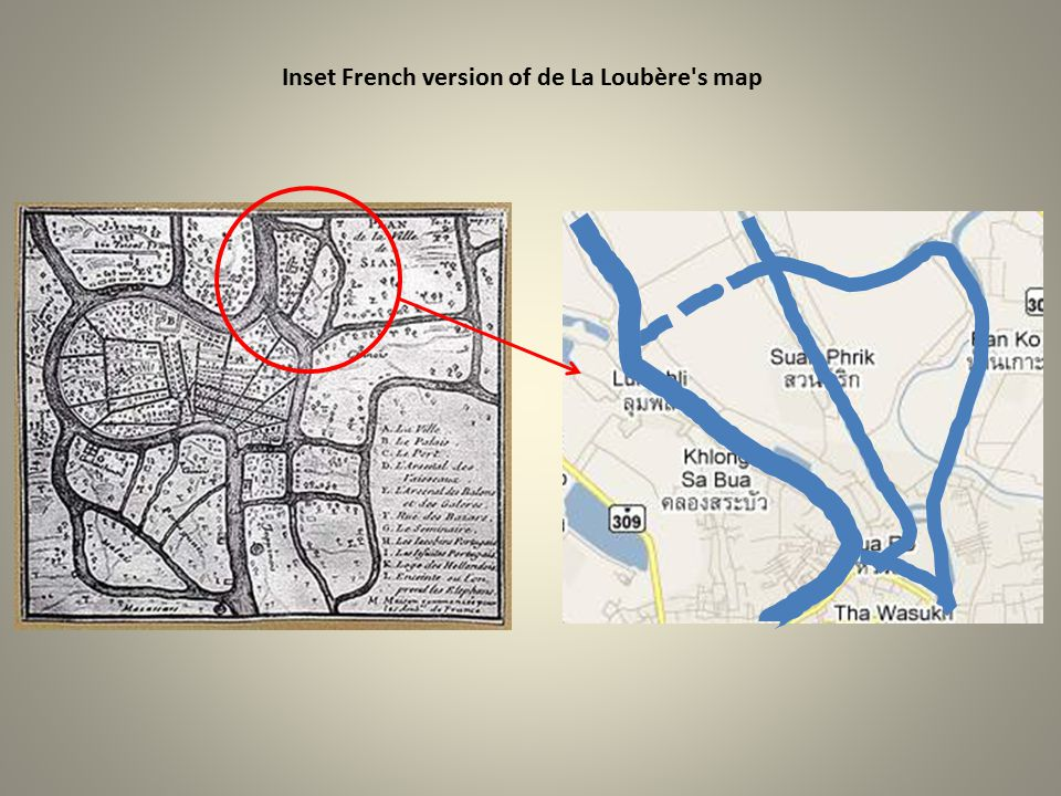 Inset French version of de La Loubère s map