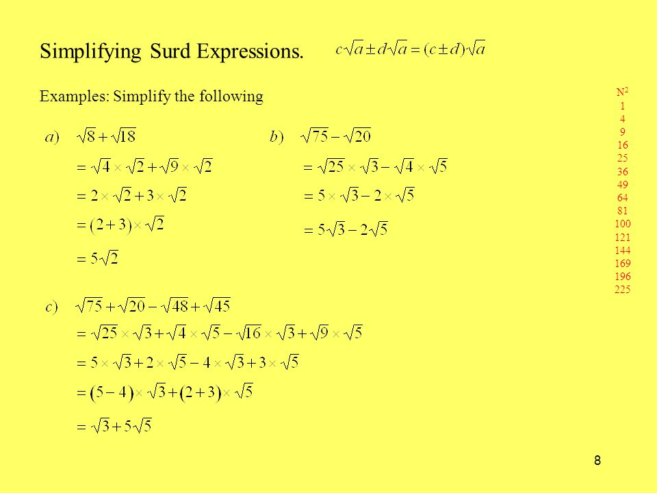 8 Simplifying Surd Expressions. Examples: Simplify the following N 2 1 4 9 16 25 36 49 64 81 100 121 144 169 196 225