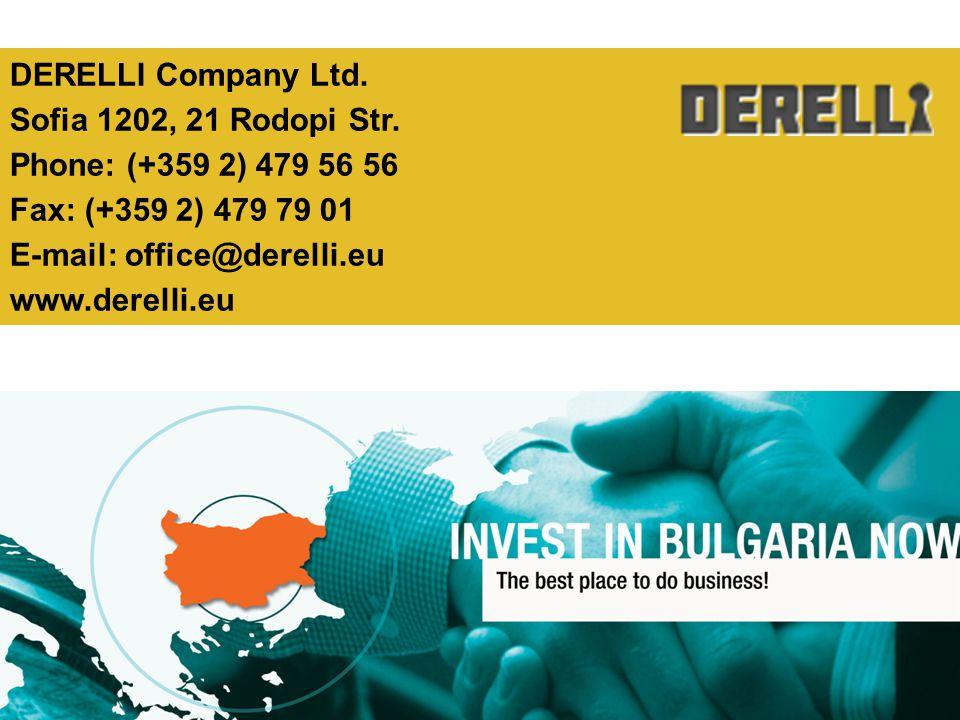 DERELLI Company Ltd. Sofia 1202, 21 Rodopi Str. Phone: (+359 2) 479 56 56 Fax: (+359 2) 479 79 01 E-mail: office@derelli.eu www.derelli.eu