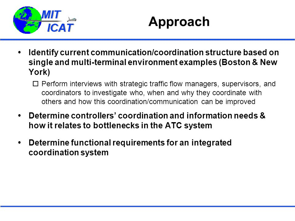 Approach  Identify current communication/coordination structure based on single and multi-terminal environment examples (Boston & New York)  Perform interviews with strategic traffic flow managers, supervisors, and coordinators to investigate who, when and why they coordinate with others and how this coordination/communication can be improved  Determine controllers' coordination and information needs & how it relates to bottlenecks in the ATC system  Determine functional requirements for an integrated coordination system