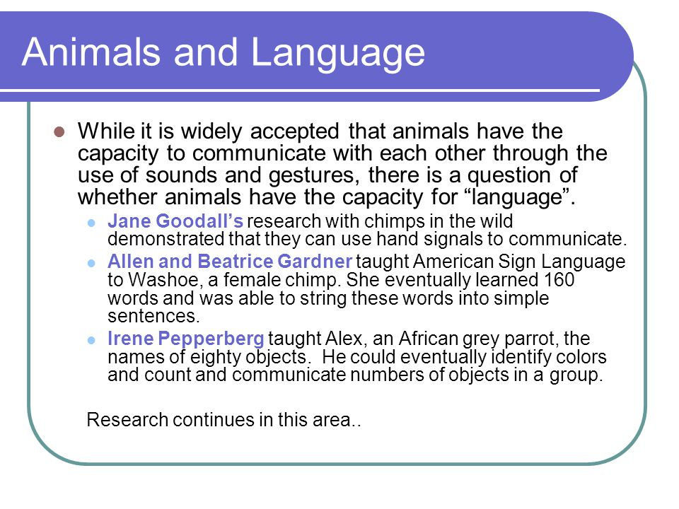 Animals and Language While it is widely accepted that animals have the capacity to communicate with each other through the use of sounds and gestures,