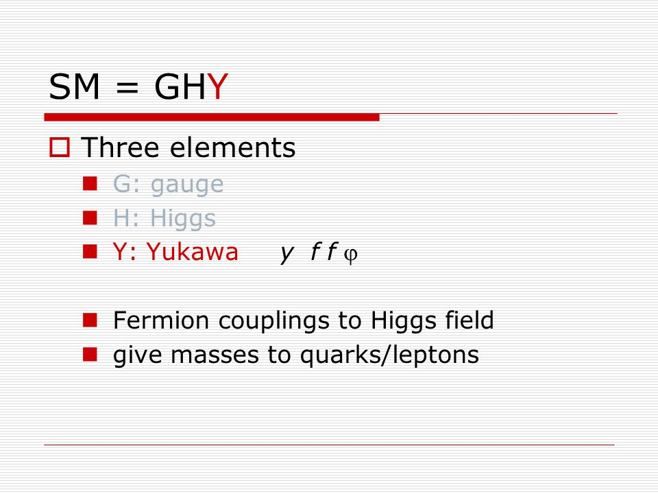 SM = GHY  Three elements G: gauge H: Higgs Y: Yukawa y f f  Fermion couplings to Higgs field give masses to quarks/leptons