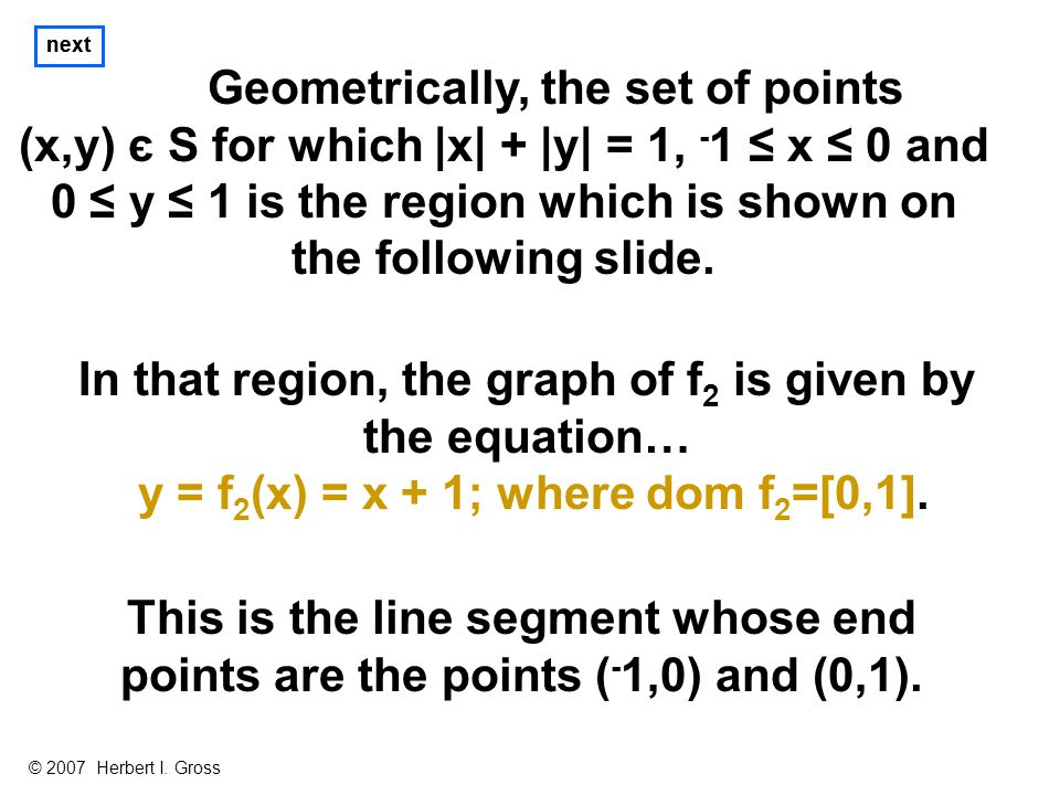 Geometrically, the set of points (x,y) є S for which |x| + |y| = 1, - 1 ≤ x ≤ 0 and 0 ≤ y ≤ 1 is the region which is shown on the following slide.