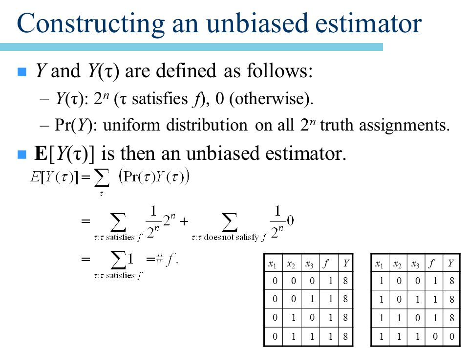 Constructing an unbiased estimator n Y and Y(τ) are defined as follows: –Y(τ): 2 n (τ satisfies f), 0 (otherwise).
