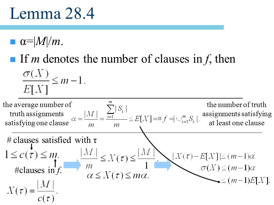 Lemma 28.4 n α=|M|/m. n If m denotes the number of clauses in f, then #clauses in f.