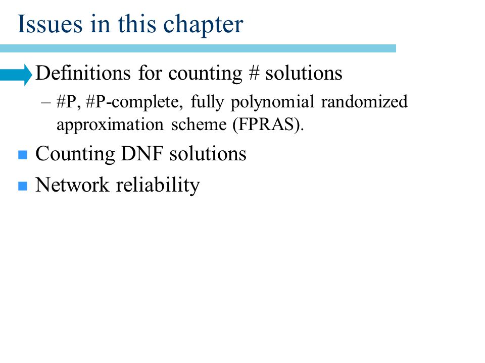 Tractability of FAIL(p) n Tractable if FAIL(p) is not small.