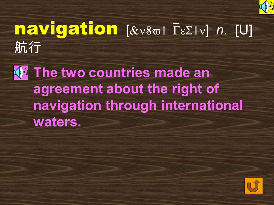 Words for Production 25. navigate [ `n8v1&Get ] vt. to move around a website or between websites; to go from one place to another by air or by sea ( 上