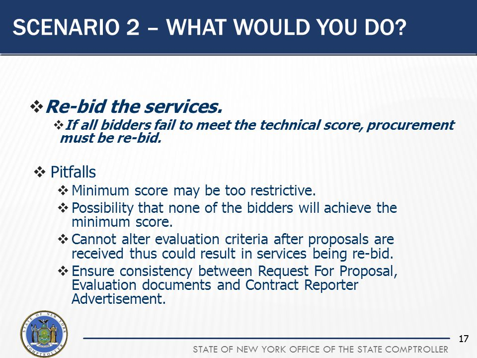 STATE OF NEW YORK OFFICE OF THE STATE COMPTROLLER 17 SCENARIO 2 – WHAT WOULD YOU DO.