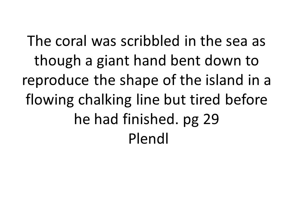 The coral was scribbled in the sea as though a giant hand bent down to reproduce the shape of the island in a flowing chalking line but tired before h