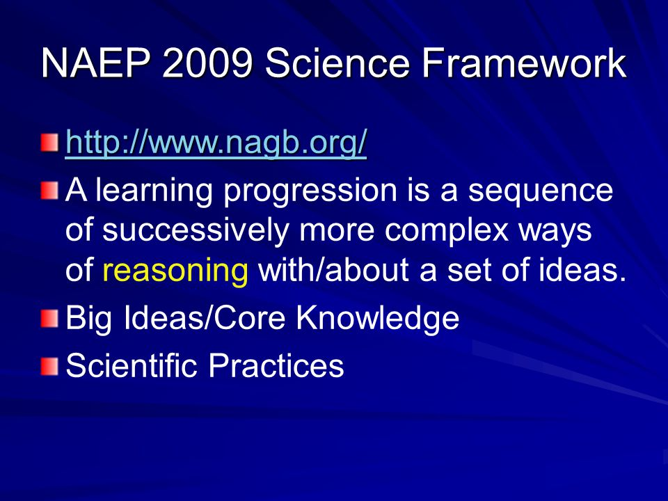 NAEP 2009 Science Framework http://www.nagb.org/ A learning progression is a sequence of successively more complex ways of reasoning with/about a set of ideas.