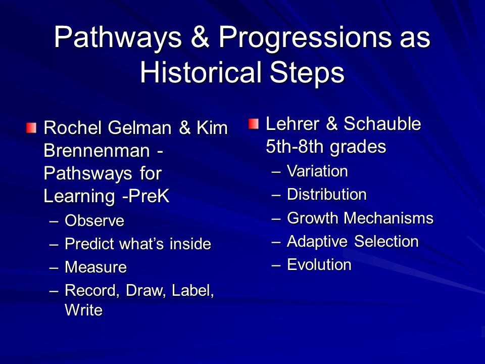 Pathways & Progressions as Historical Steps Rochel Gelman & Kim Brennenman - Pathsways for Learning -PreK –Observe –Predict what's inside –Measure –Record, Draw, Label, Write Lehrer & Schauble 5th-8th grades –Variation –Distribution –Growth Mechanisms –Adaptive Selection –Evolution