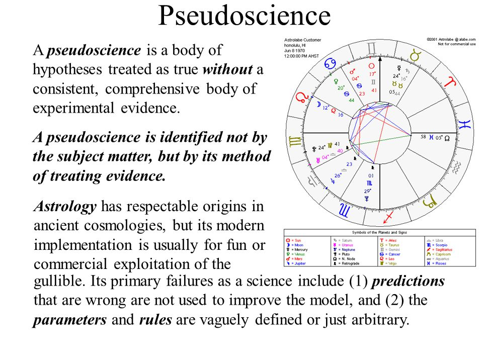 Pseudoscience A pseudoscience is a body of hypotheses treated as true without a consistent, comprehensive body of experimental evidence. A pseudoscien