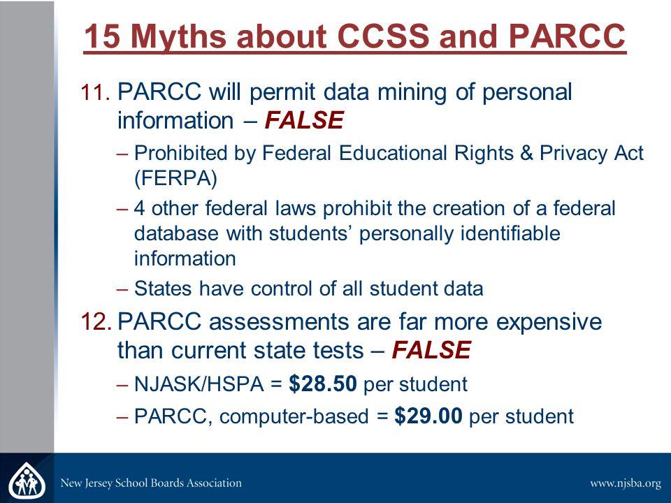 15 Myths about CCSS and PARCC 13.International assessment data (PISA, TIMMS) is not valid – FALSE 14.CCSS Erode 2 nd Amendment Constitutional Rights – FALSE 15.