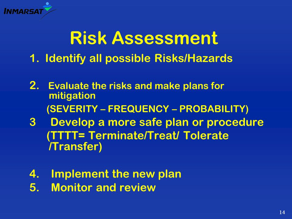 14 Risk Assessment 1.Identify all possible Risks/Hazards 2.