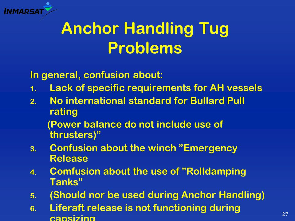 27 Anchor Handling Tug Problems In general, confusion about: 1.