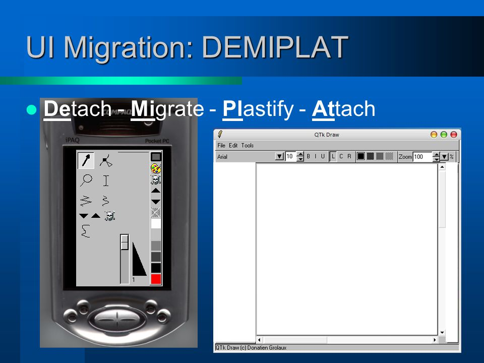 Composition principle The space these migratable windows used to occupy are replaced by receiver widgets receiver
