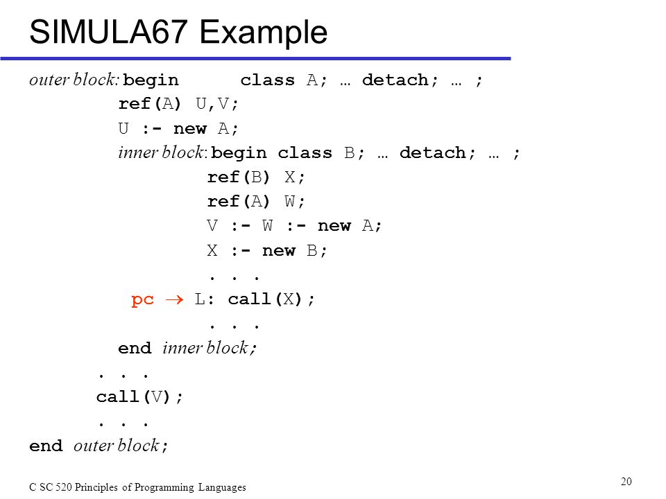 C SC 520 Principles of Programming Languages 20 SIMULA67 Example outer block: begin class A; … detach; … ; ref(A) U,V; U :- new A; inner block: begin class B; … detach; … ; ref(B) X; ref(A) W; V :- W :- new A; X :- new B;...