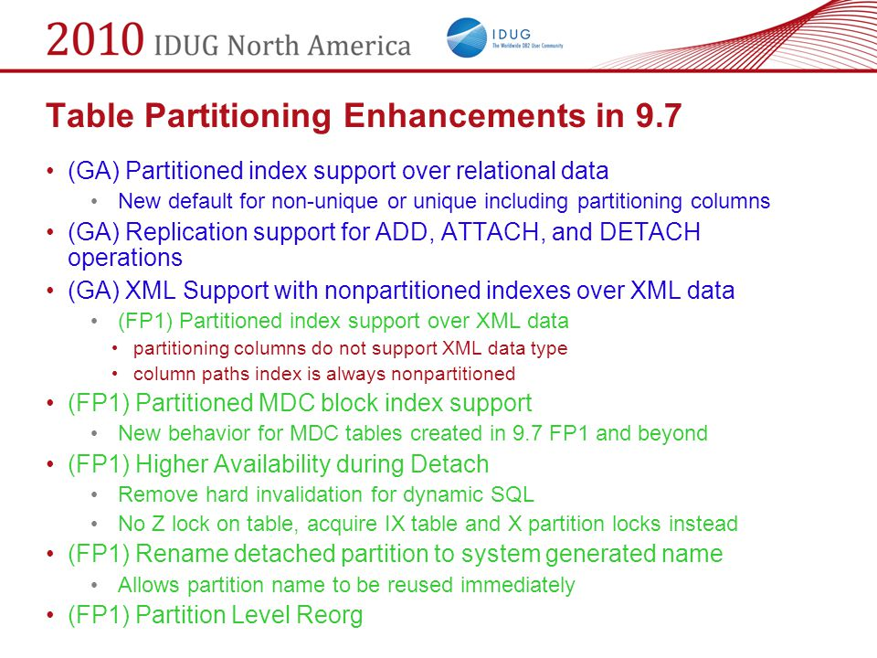 Table Partitioning Enhancements in 9.7 (GA) Partitioned index support over relational data New default for non-unique or unique including partitioning