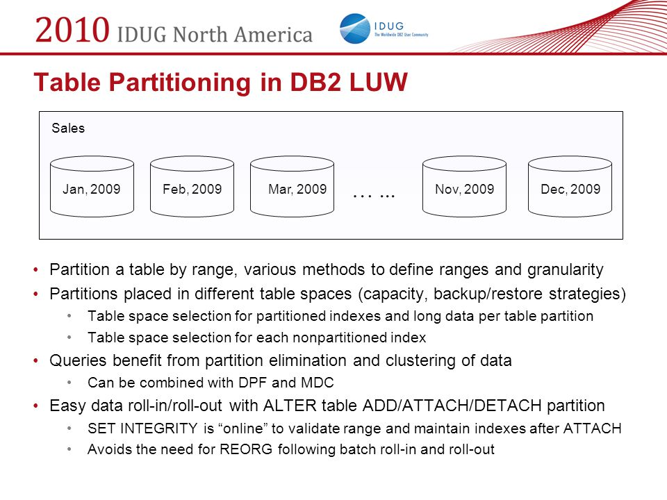 Table Partitioning in DB2 LUW Partition a table by range, various methods to define ranges and granularity Partitions placed in different table spaces