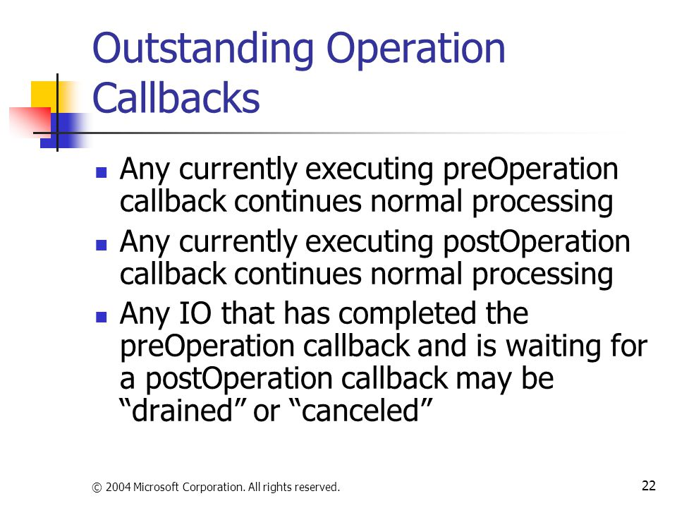 © 2004 Microsoft Corporation. All rights reserved. 22 Outstanding Operation Callbacks Any currently executing preOperation callback continues normal p