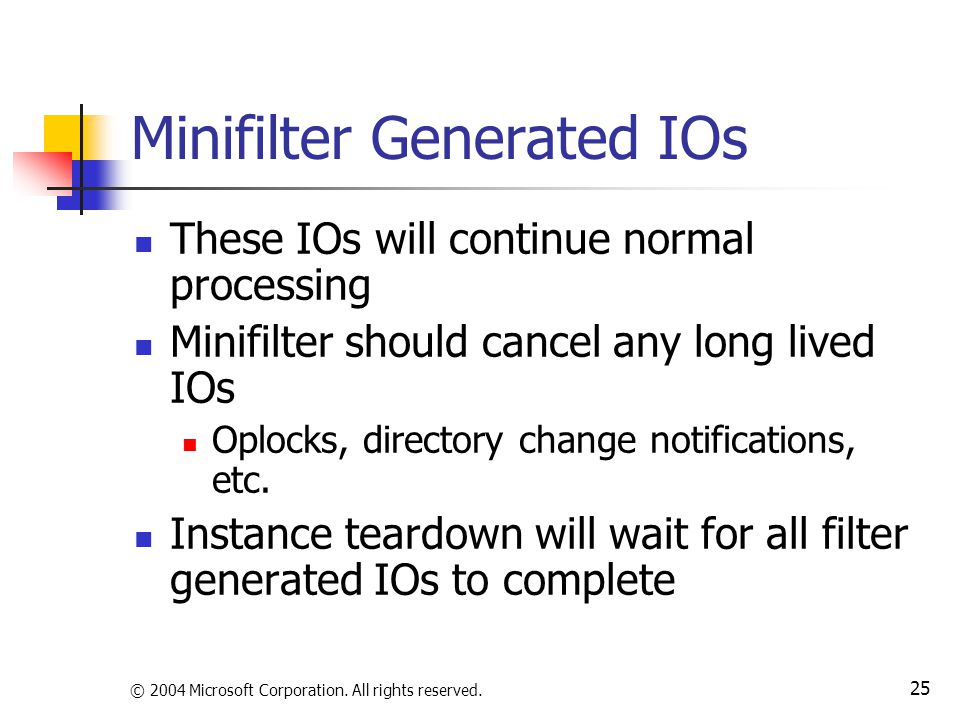 © 2004 Microsoft Corporation. All rights reserved. 25 Minifilter Generated IOs These IOs will continue normal processing Minifilter should cancel any