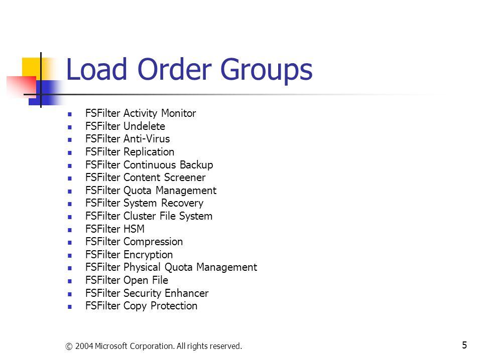© 2004 Microsoft Corporation. All rights reserved. 5 Load Order Groups FSFilter Activity Monitor FSFilter Undelete FSFilter Anti-Virus FSFilter Replic