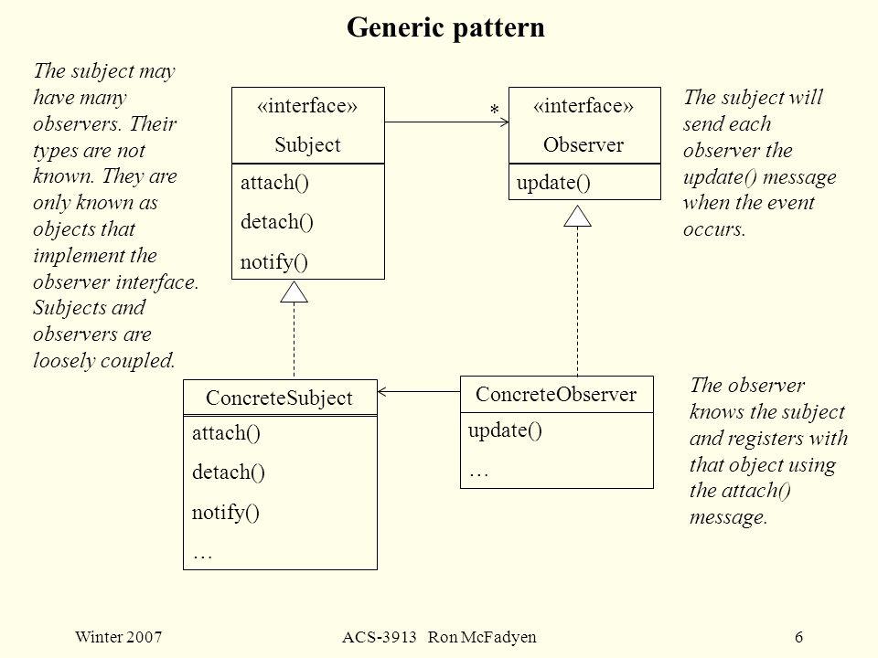 Winter 2007ACS-3913 Ron McFadyen6 Generic pattern «interface» Subject attach() detach() notify() «interface» Observer update() ConcreteSubject attach() detach() notify() … ConcreteObserver update() … * The subject may have many observers.