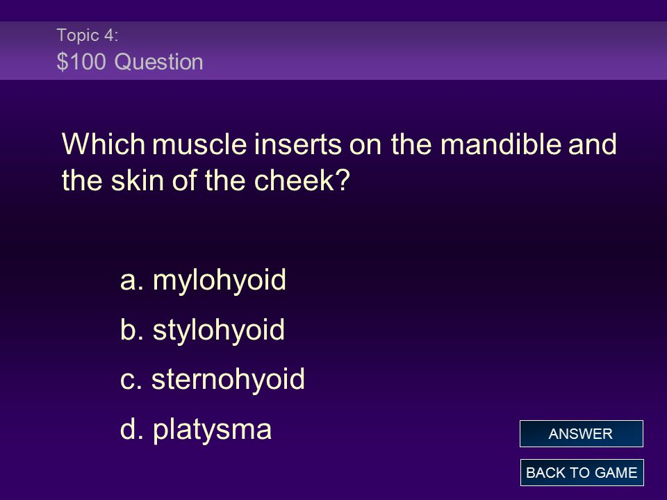 Topic 4: $100 Question Which muscle inserts on the mandible and the skin of the cheek? a. mylohyoid b. stylohyoid c. sternohyoid d. platysma BACK TO G