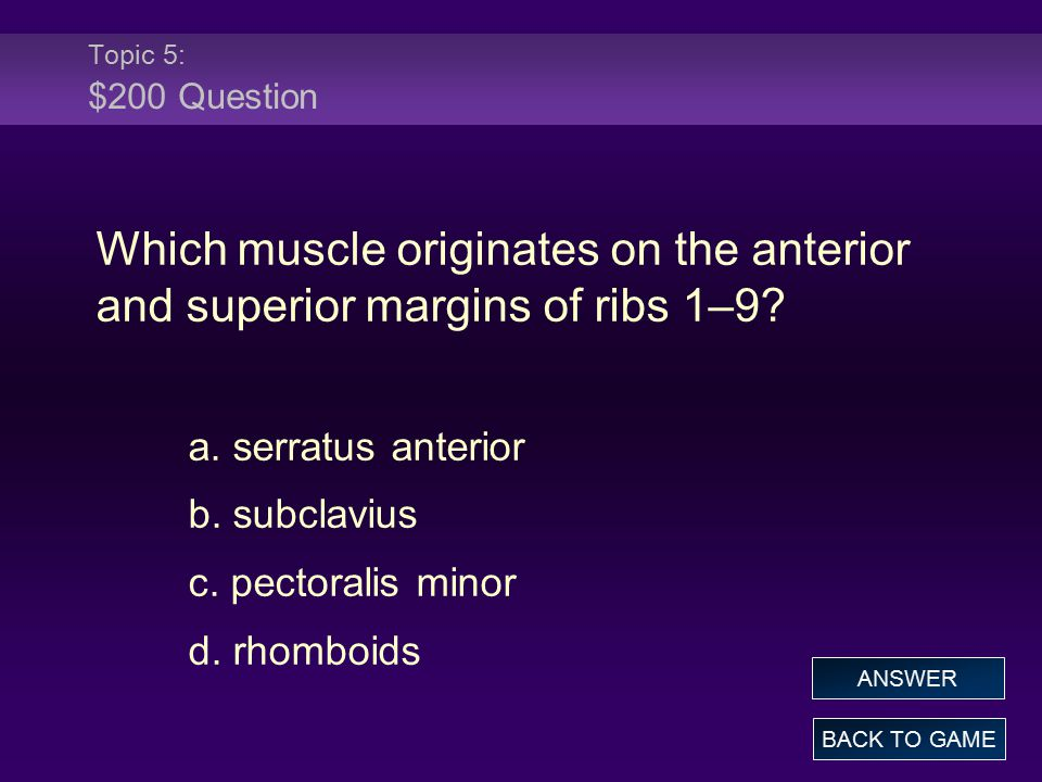 Topic 5: $200 Question Which muscle originates on the anterior and superior margins of ribs 1–9? a. serratus anterior b. subclavius c. pectoralis mino