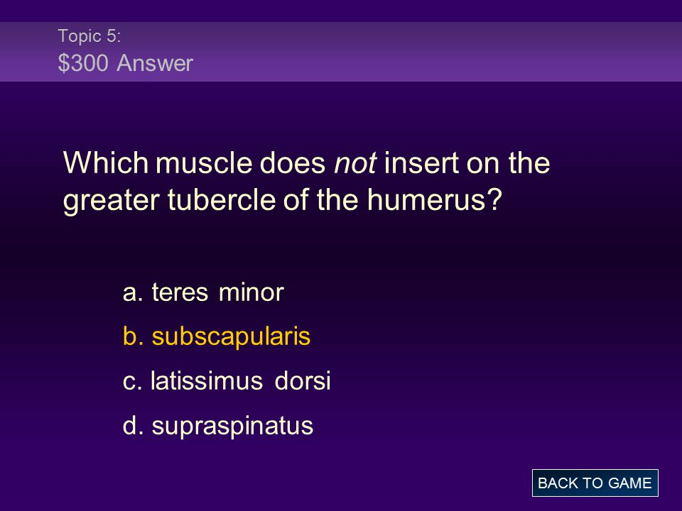 Topic 5: $300 Answer Which muscle does not insert on the greater tubercle of the humerus? a. teres minor b. subscapularis c. latissimus dorsi d. supra