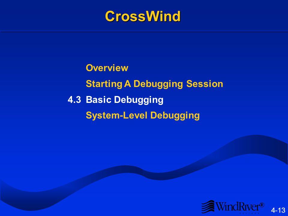 ® 4-13 CrossWind Overview Starting A Debugging Session 4.3Basic Debugging System-Level Debugging