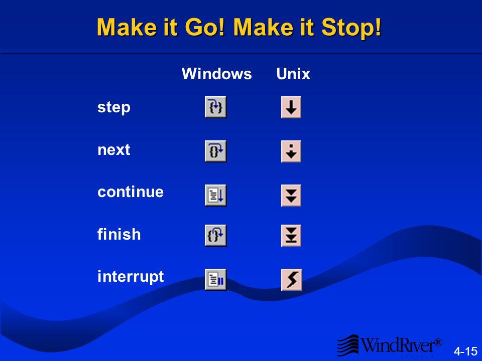 ® 4-15 Make it Go! Make it Stop! step next continue finish interrupt WindowsUnix