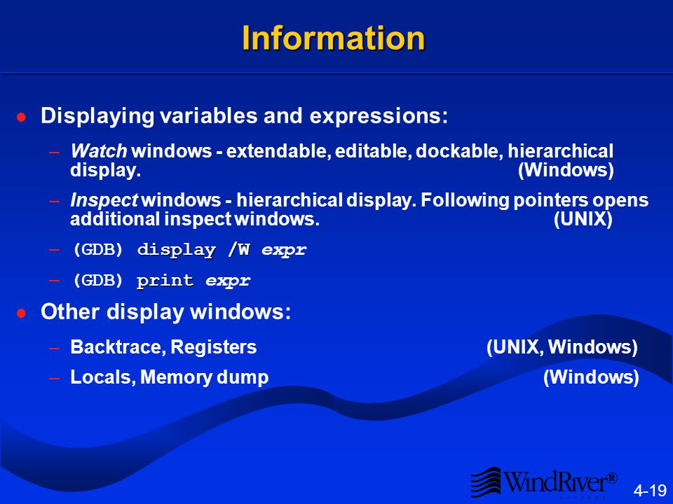 ® 4-19 Information Displaying variables and expressions: –Watch windows - extendable, editable, dockable, hierarchical display.
