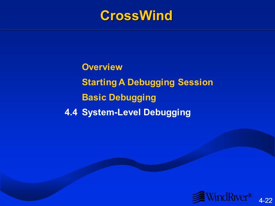 ® 4-22 CrossWind Overview Starting A Debugging Session Basic Debugging 4.4System-Level Debugging