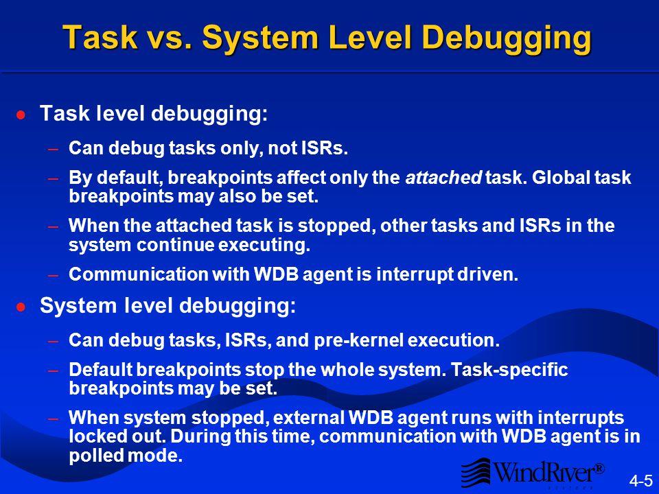 ® 4-5 Task vs. System Level Debugging Task level debugging: –Can debug tasks only, not ISRs.