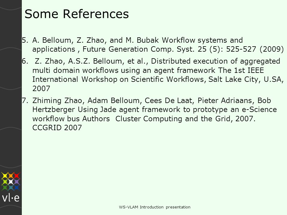 Some References 5.A. Belloum, Z. Zhao, and M.