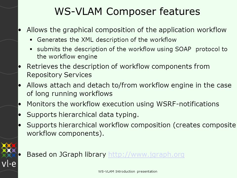 WS-VLAM Introduction presentation WS-VLAM composer Composition panel Monitoring consol Property panel Workflow Components palette