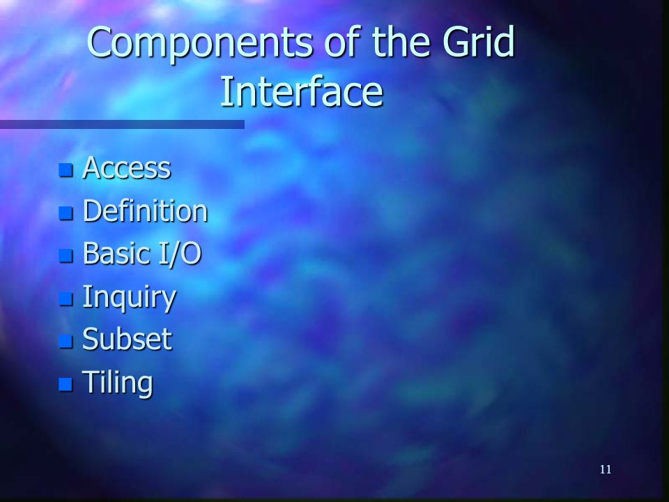 11 Components of the Grid Interface n Access n Definition n Basic I/O n Inquiry n Subset n Tiling