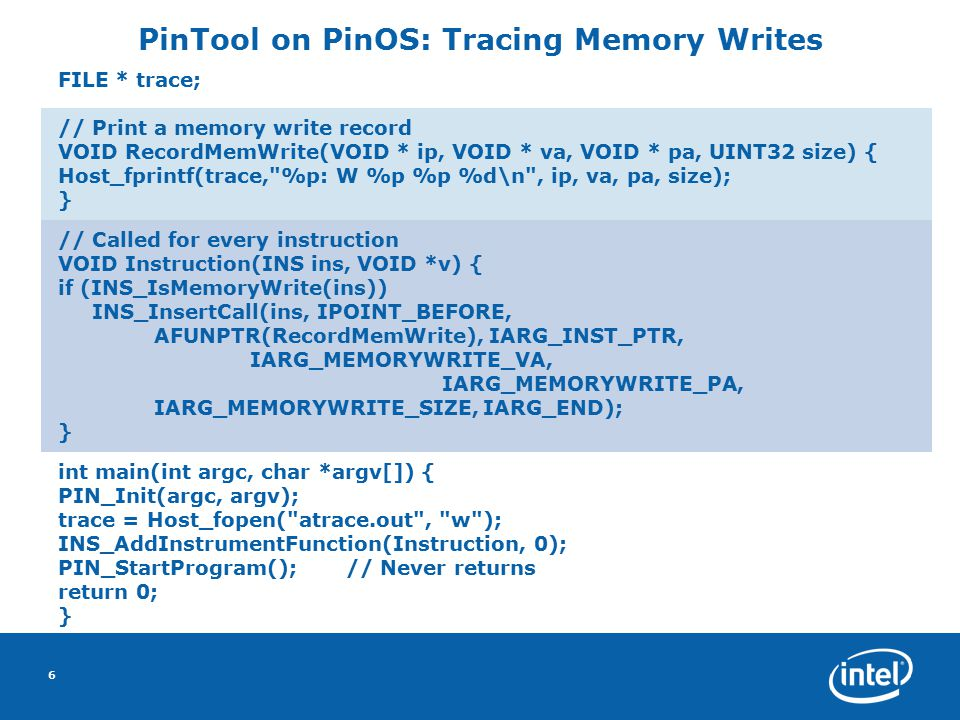 7 Architecture Xen-Domain0 Host OS Xen-DomainU Xen Virtual Machine Monitor (VMM)  H a r d w a r e Guest OS PinOS 1 To run PinOS between guest and hardware: Use Xen Virtualize and present a fake processor to the guest OS 1 2 2 PinTool I/O Engine CodeCache