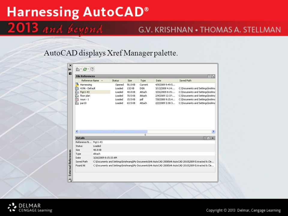 AutoCAD displays Xref Manager palette.