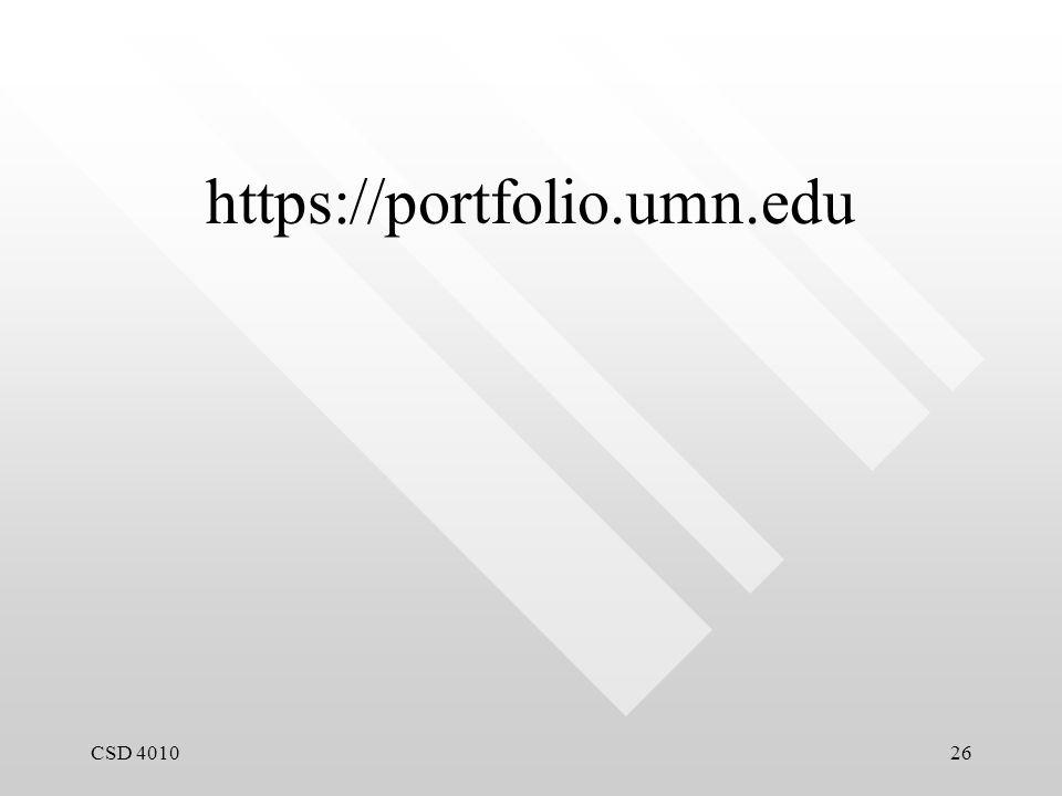 CSD 401026 https://portfolio.umn.edu