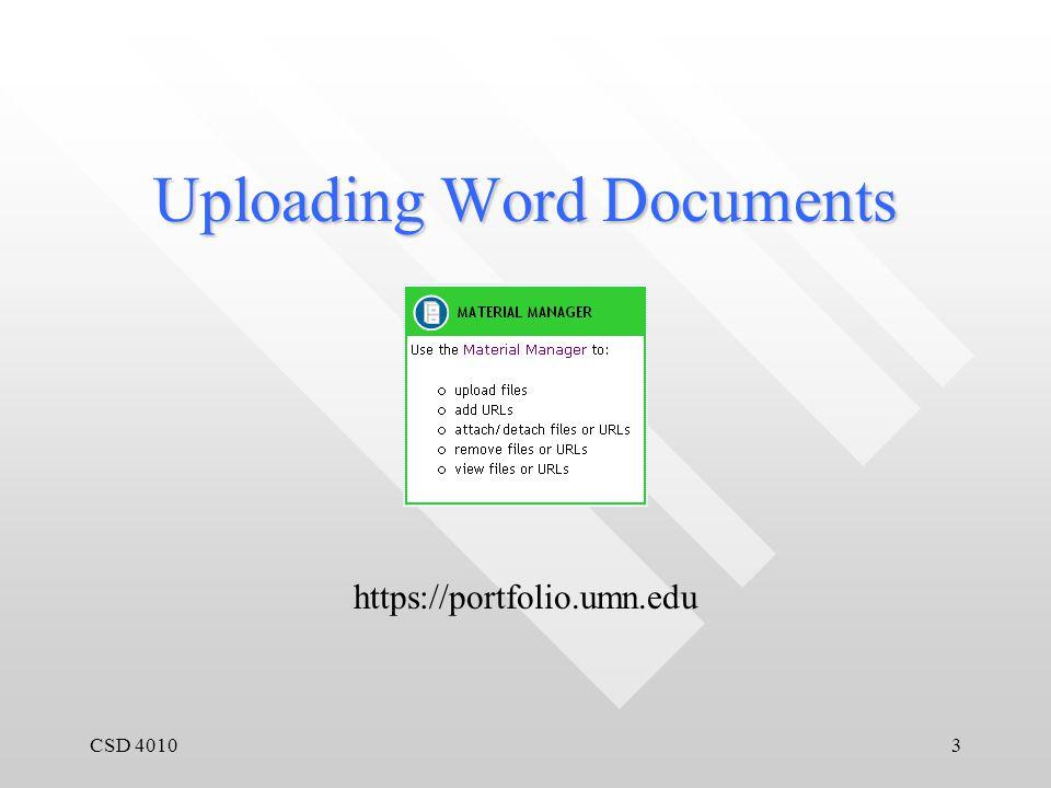 CSD 40103 Uploading Word Documents https://portfolio.umn.edu