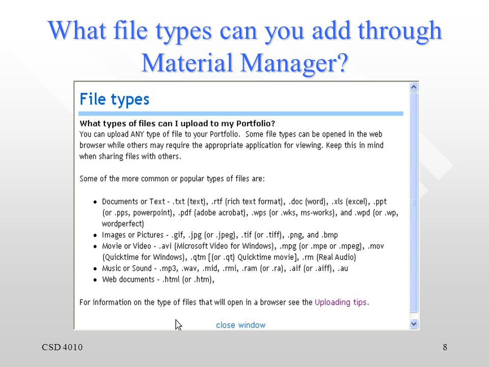 CSD 40108 What file types can you add through Material Manager