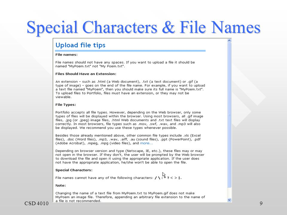 CSD 40109 Special Characters & File Names