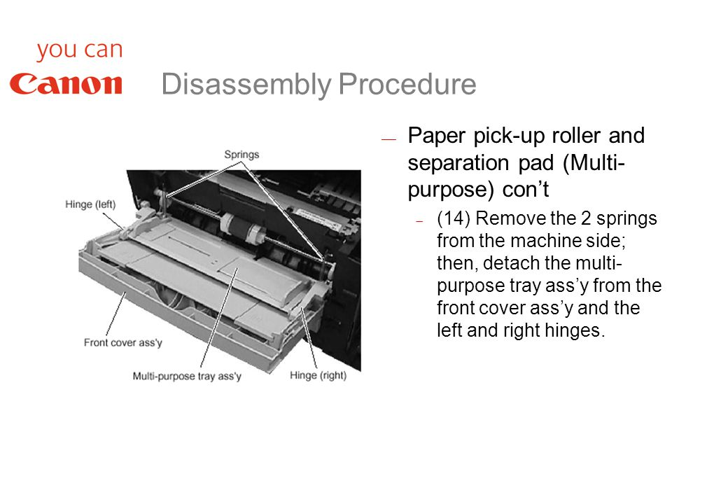 Disassembly Procedure  Paper pick-up roller and separation pad (Multi- purpose) con't  (14) Remove the 2 springs from the machine side; then, detach the multi- purpose tray ass'y from the front cover ass'y and the left and right hinges.