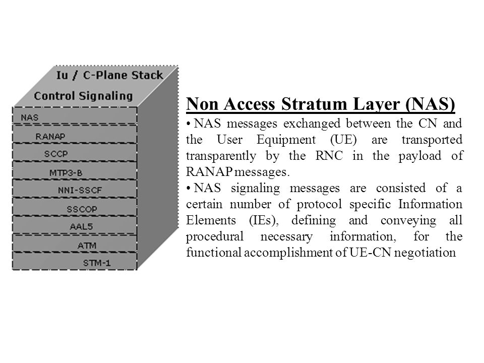 Non Access Stratum Layer (NAS) NAS messages exchanged between the CN and the User Equipment (UE) are transported transparently by the RNC in the paylo